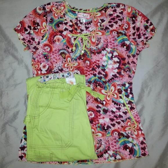 Koi Scrub Set Colorful Small Top w lime Pants Xs